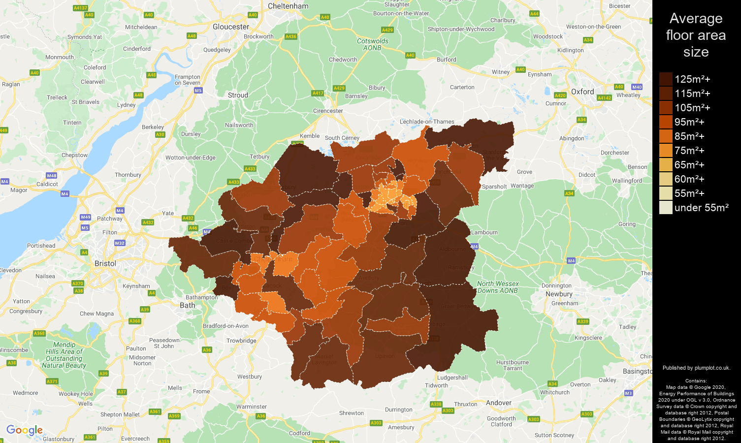 Swindon map of average floor area size of houses