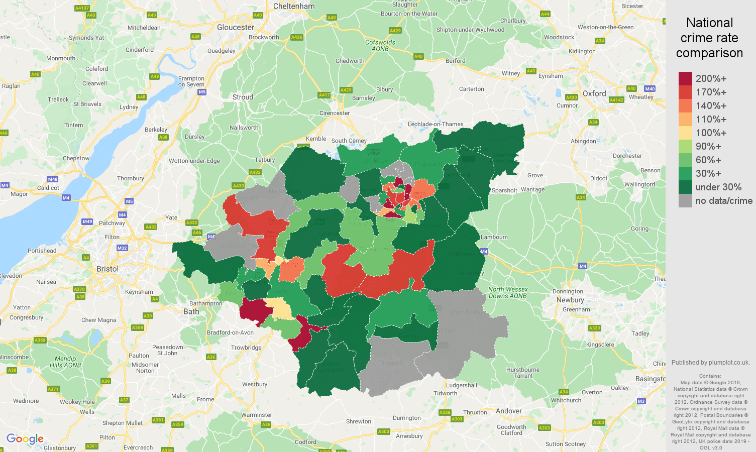 Swindon shoplifting crime rate comparison map