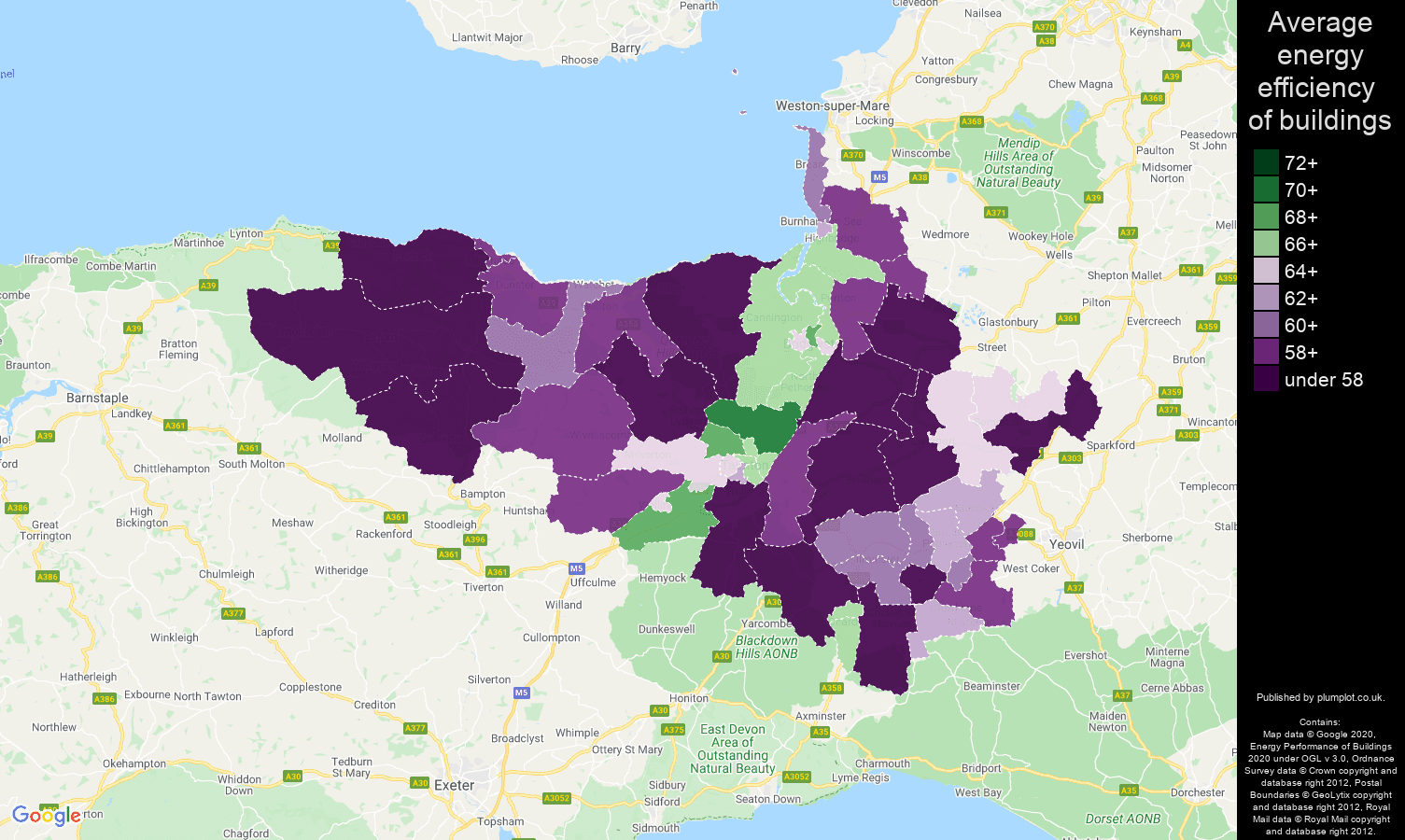 Taunton map of energy efficiency of properties