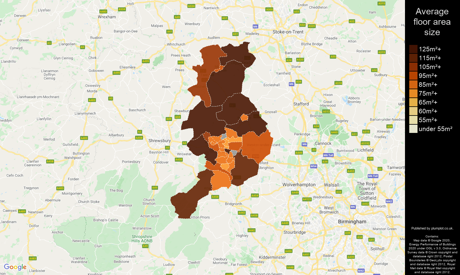 Telford map of average floor area size of houses