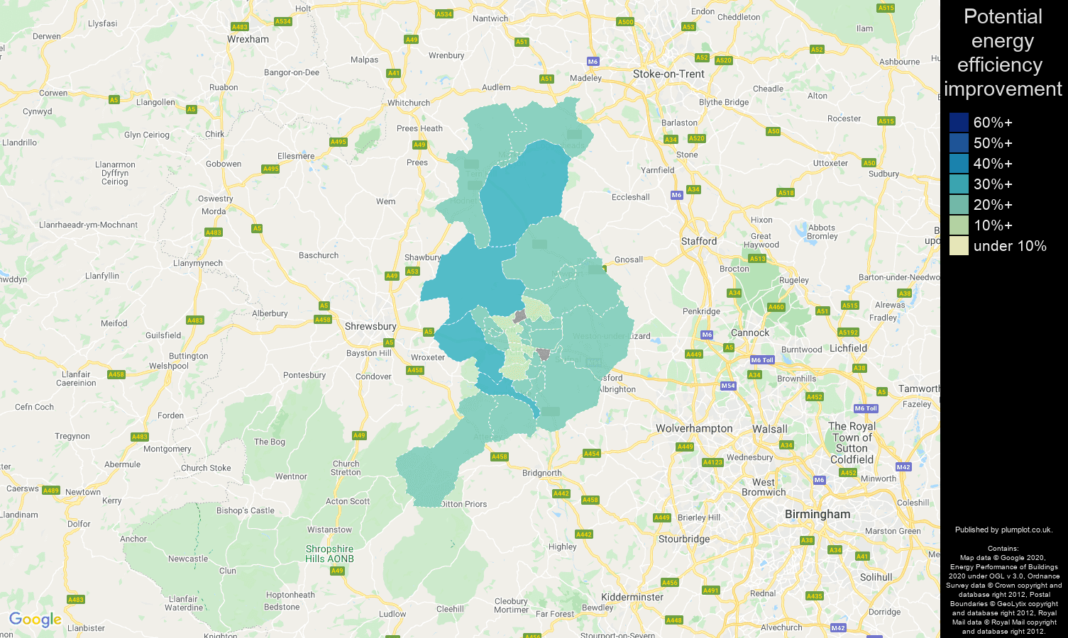 Telford map of potential energy efficiency improvement of houses