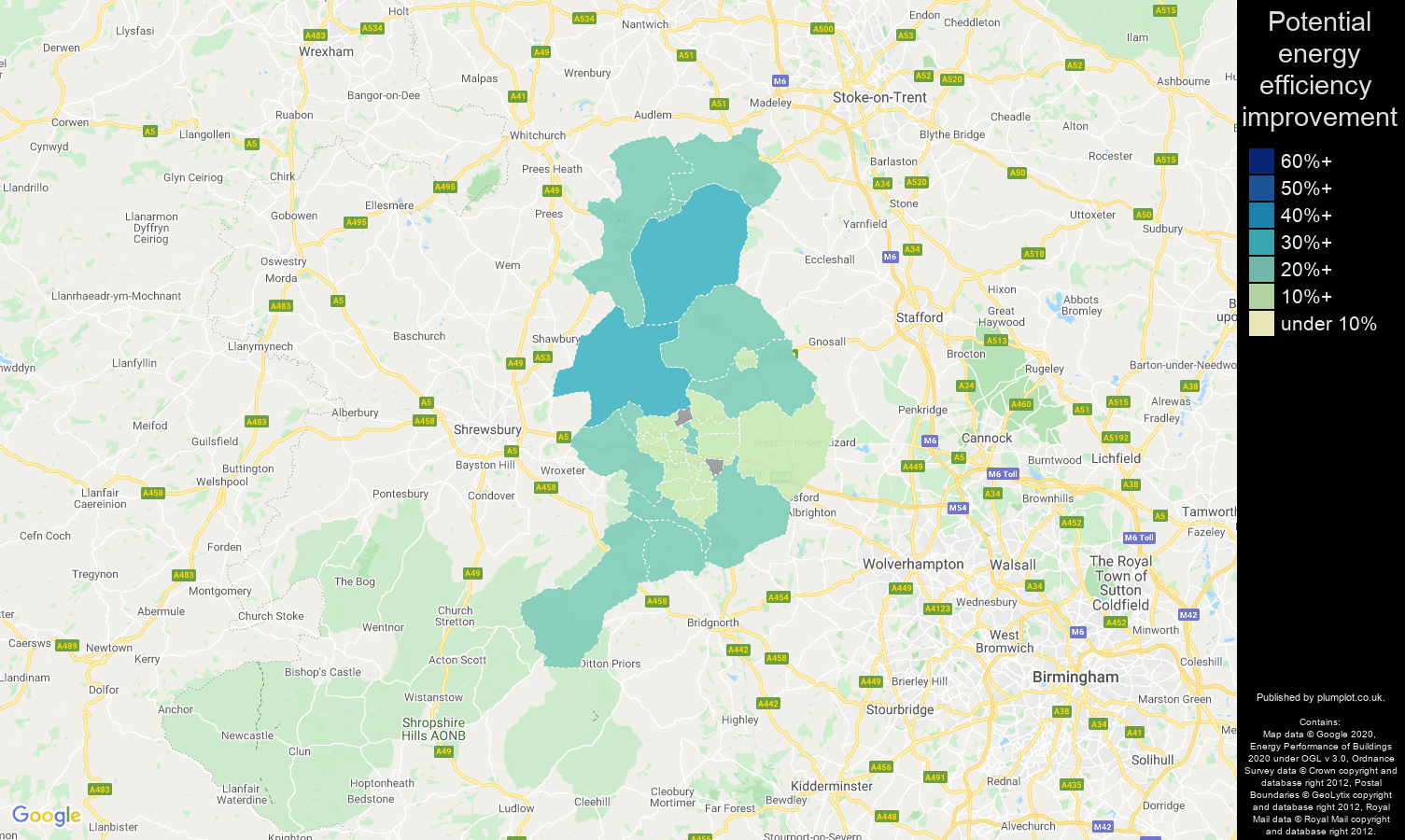 Telford map of potential energy efficiency improvement of properties