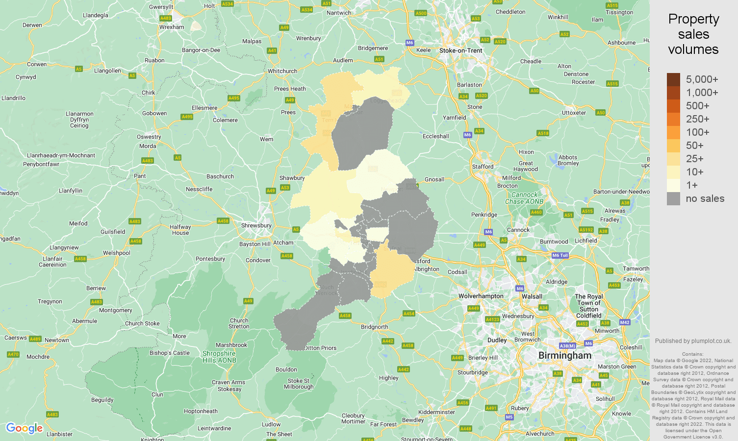 Telford map of sales of new properties