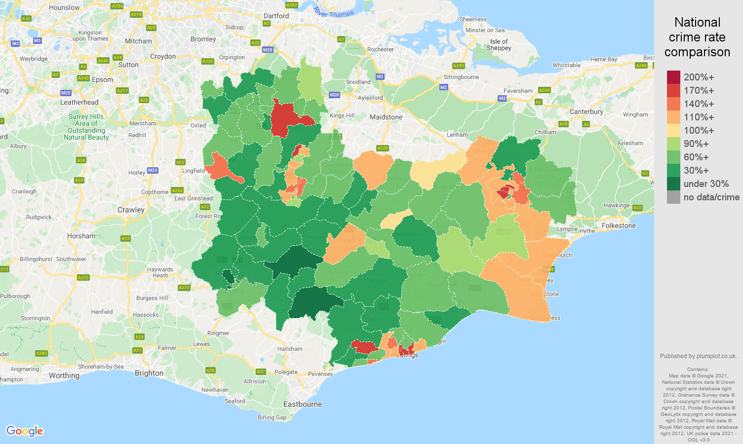 Tonbridge violent crime rate comparison map
