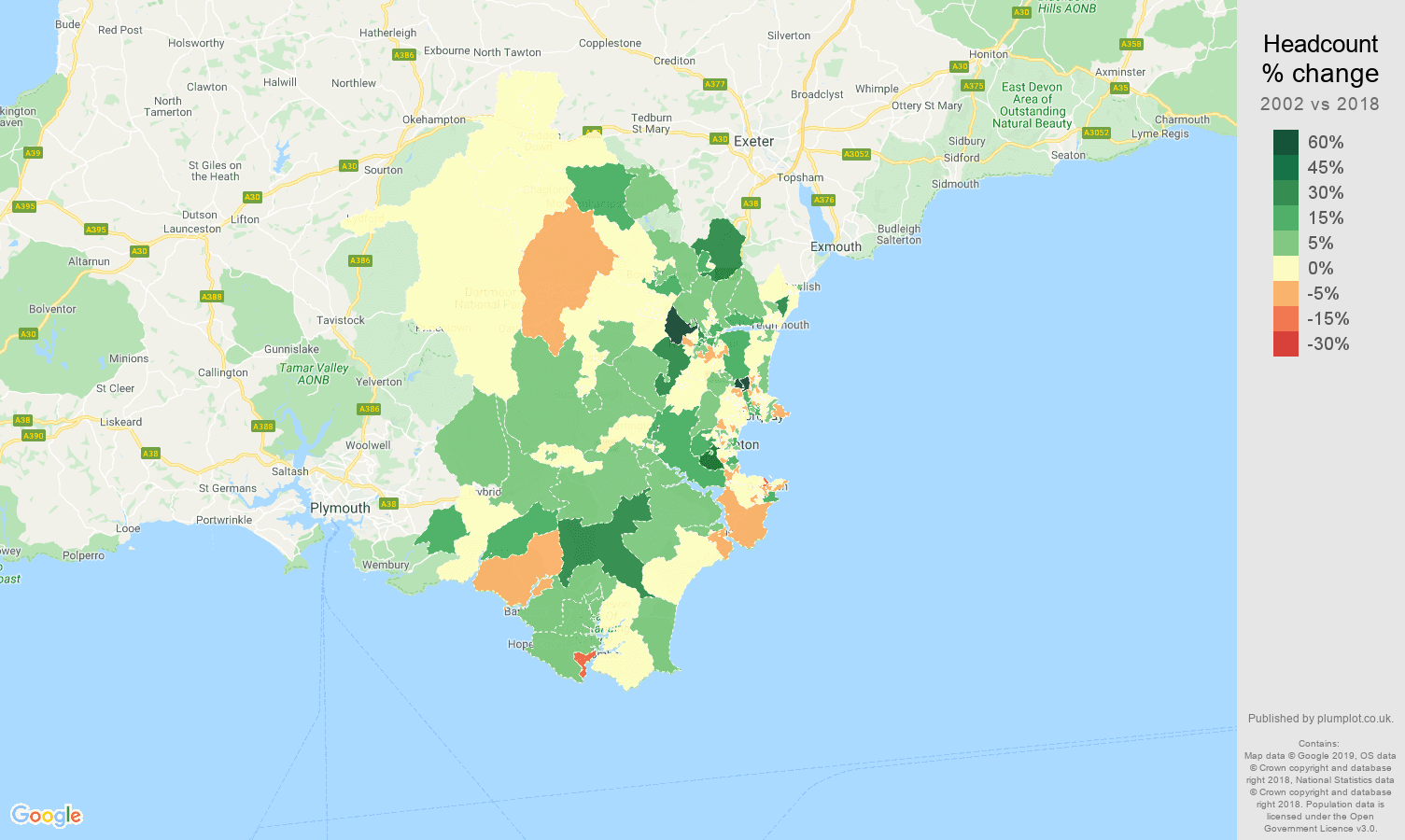 Torquay headcount change map