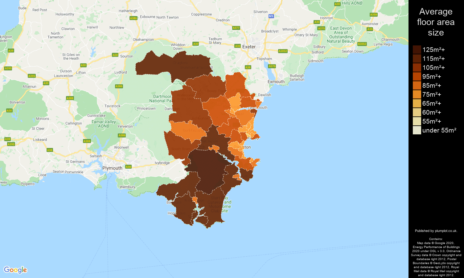 Torquay map of average floor area size of properties