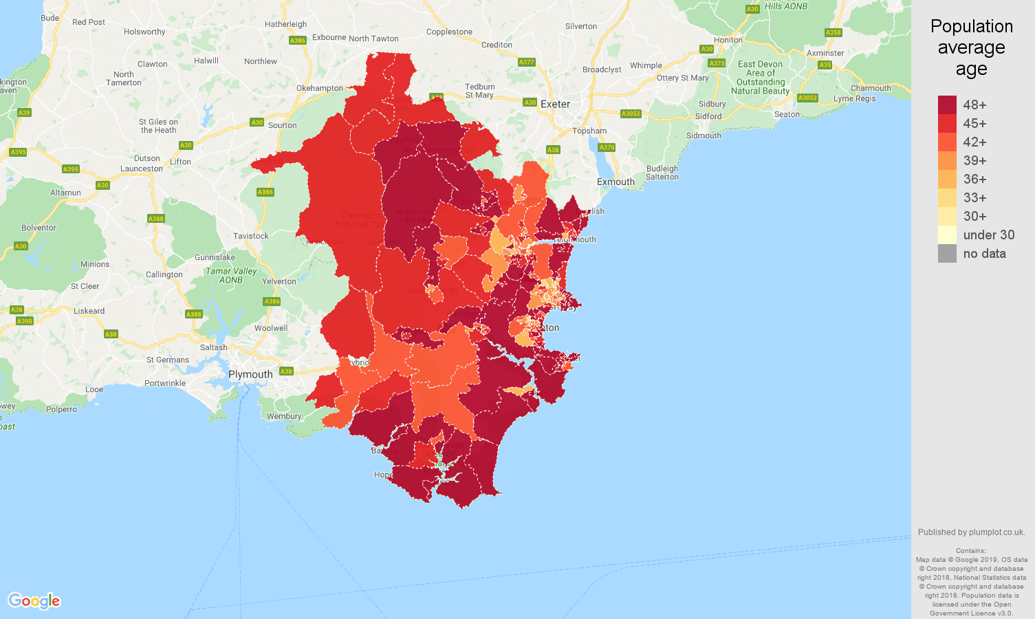 Torquay population average age map