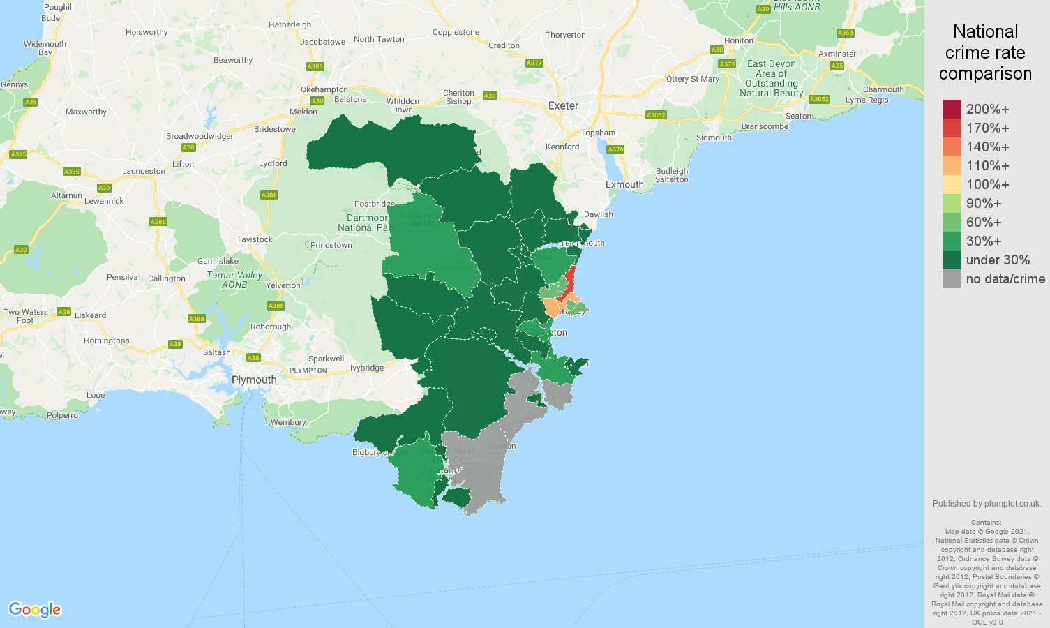Torquay vehicle crime rate comparison map
