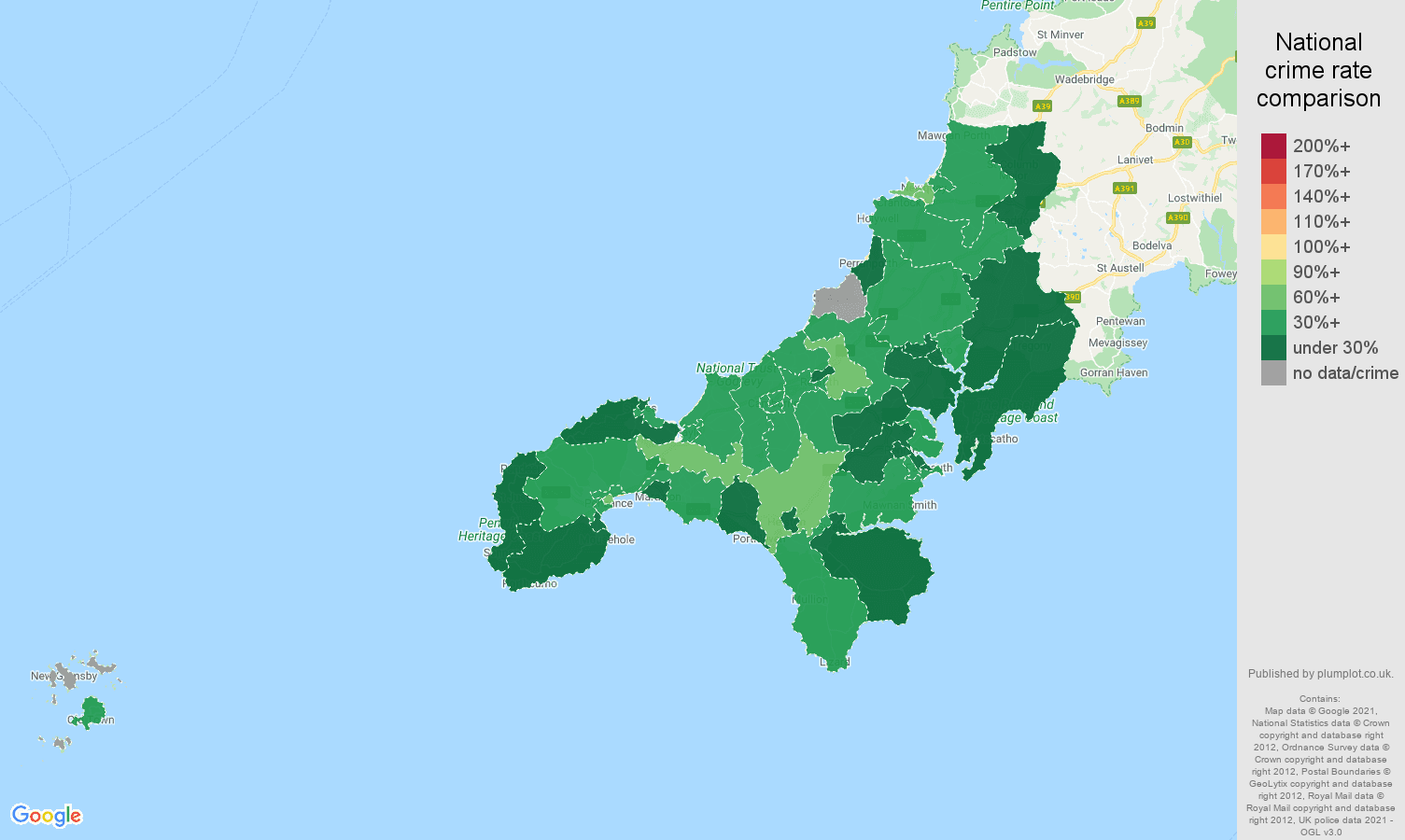 Truro burglary crime rate comparison map