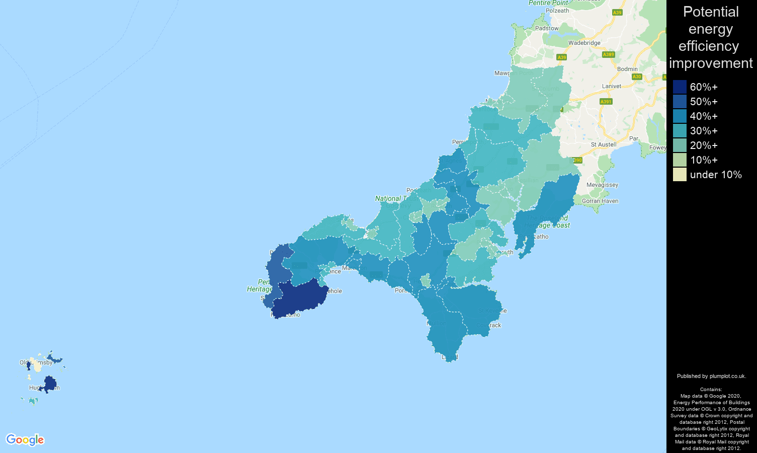Truro map of potential energy efficiency improvement of houses
