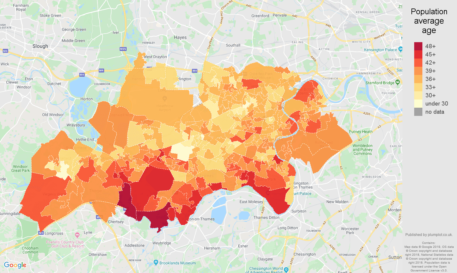 Twickenham population average age map