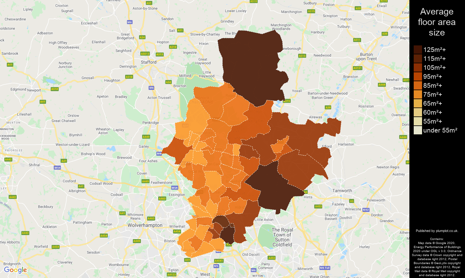 Walsall map of average floor area size of houses