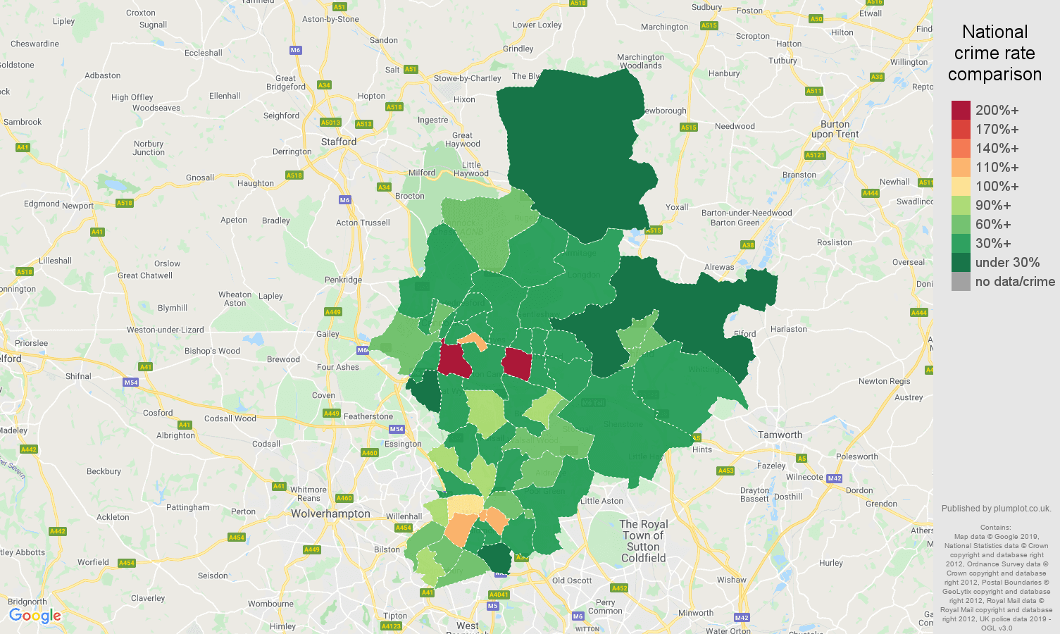 Walsall other theft crime rate comparison map