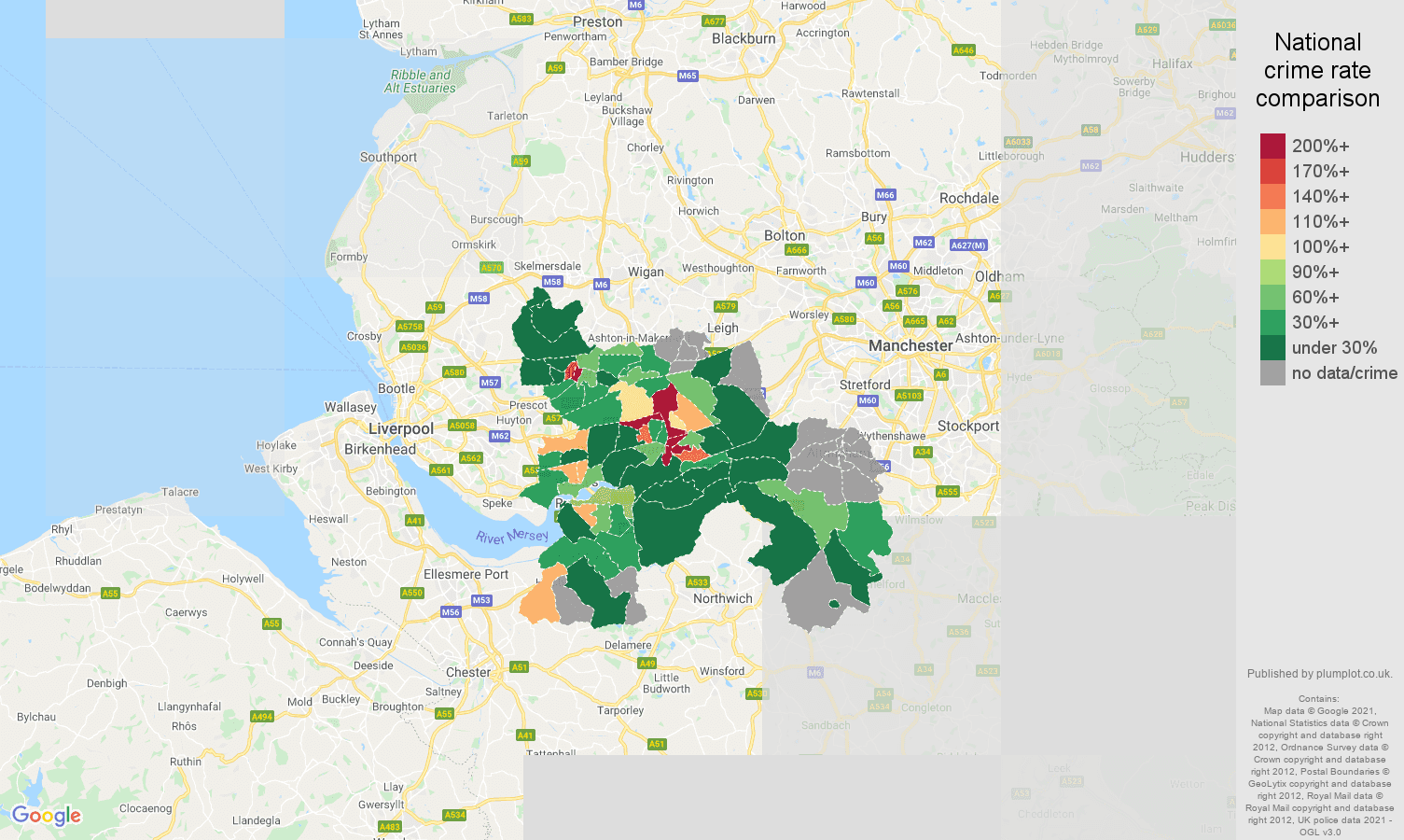 Warrington bicycle theft crime rate comparison map