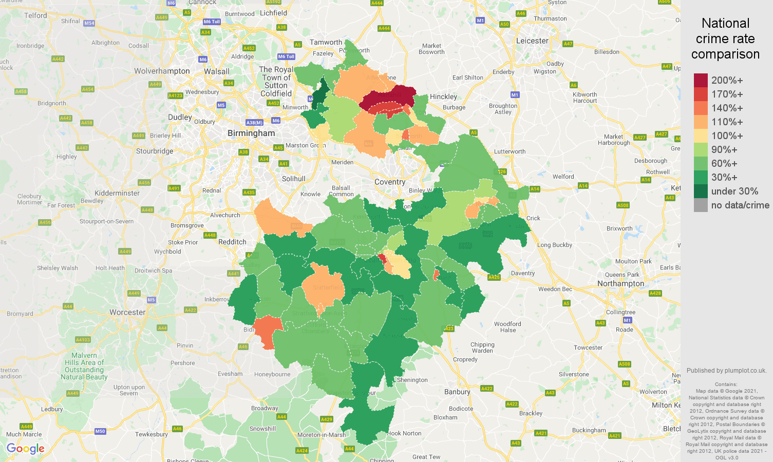Warwickshire antisocial behaviour crime rate comparison map