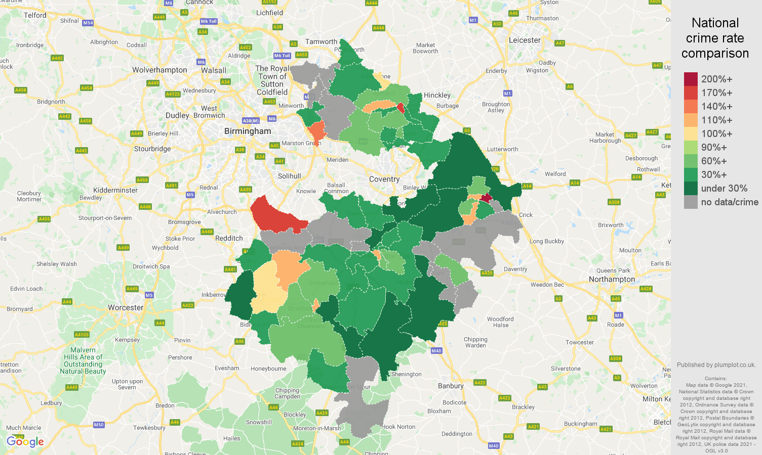 Warwickshire robbery crime rate comparison map