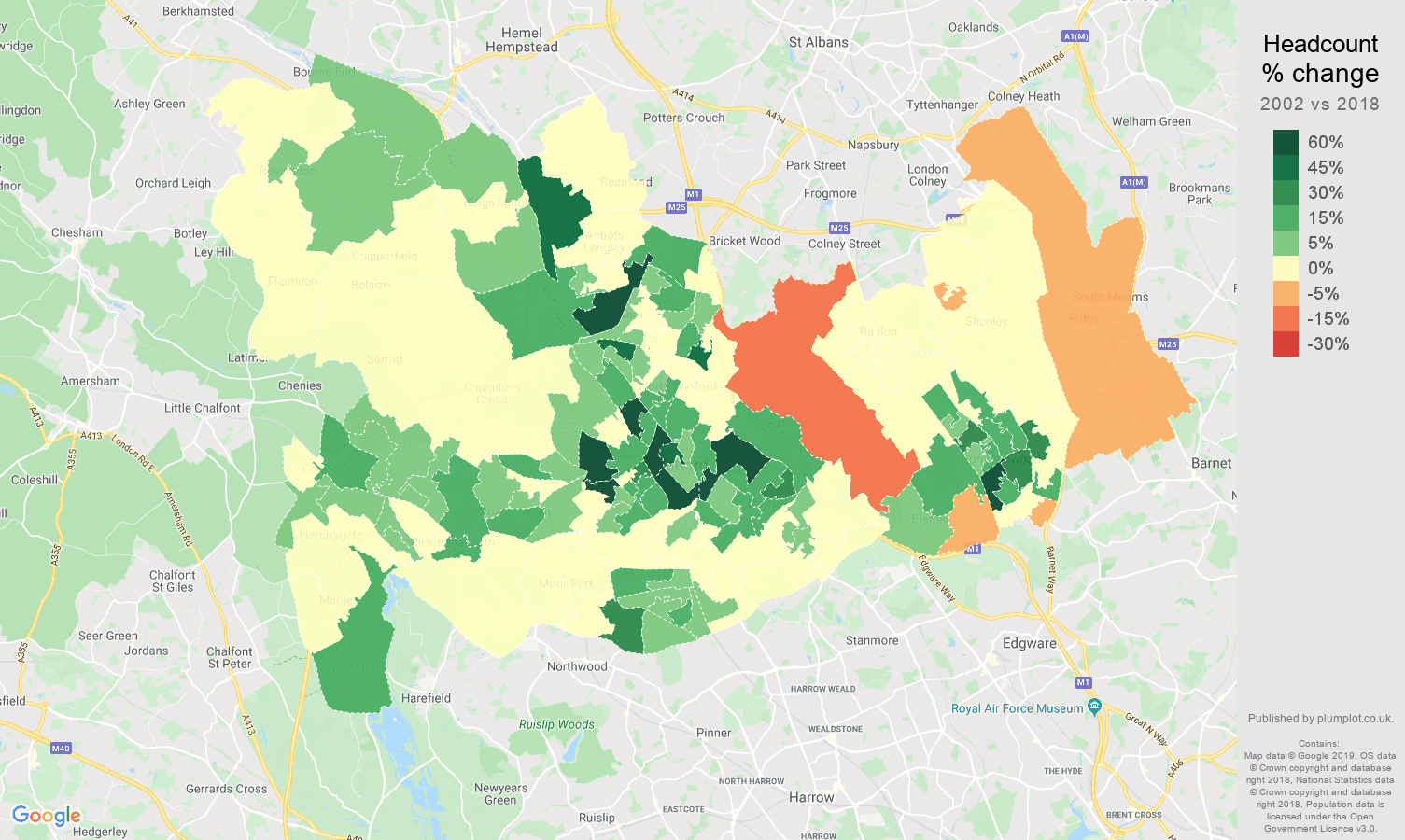 Watford headcount change map