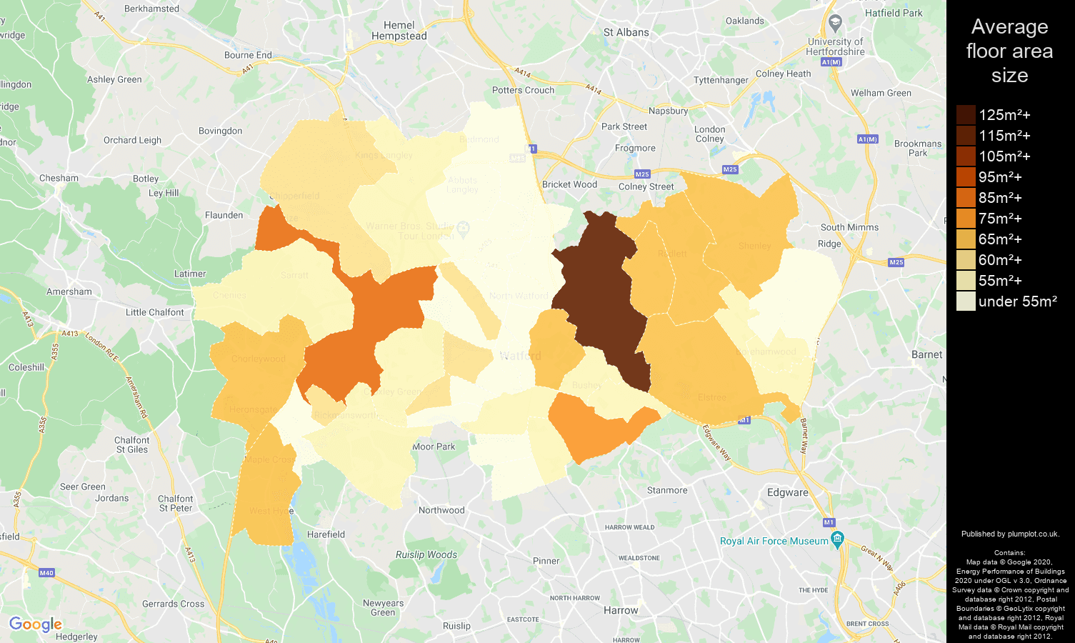 Watford map of average floor area size of flats
