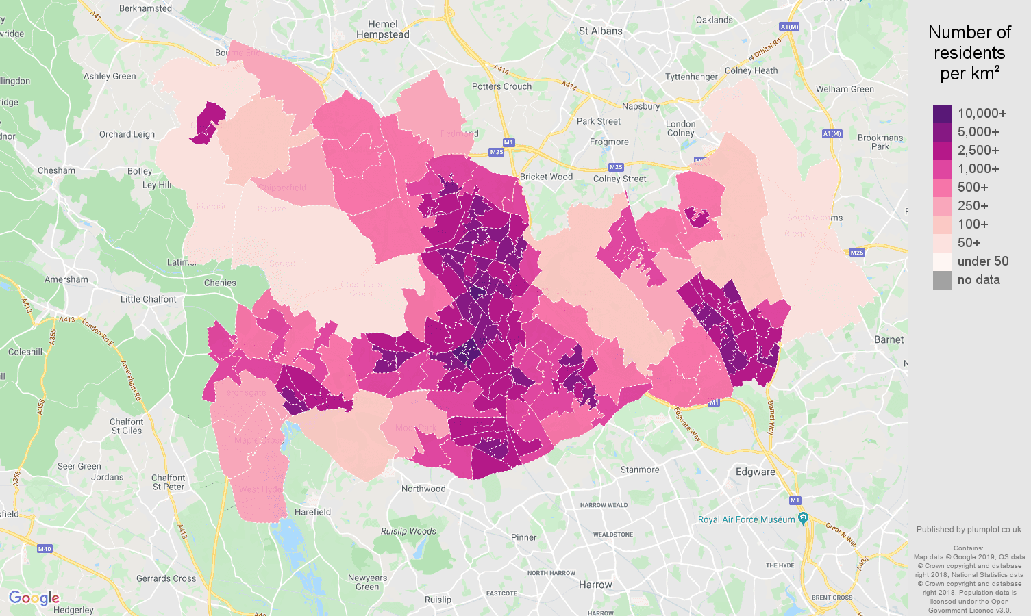 Watford population density map