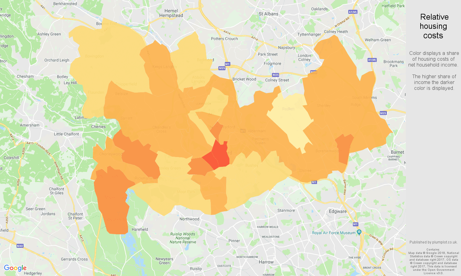 Watford relative housing costs map