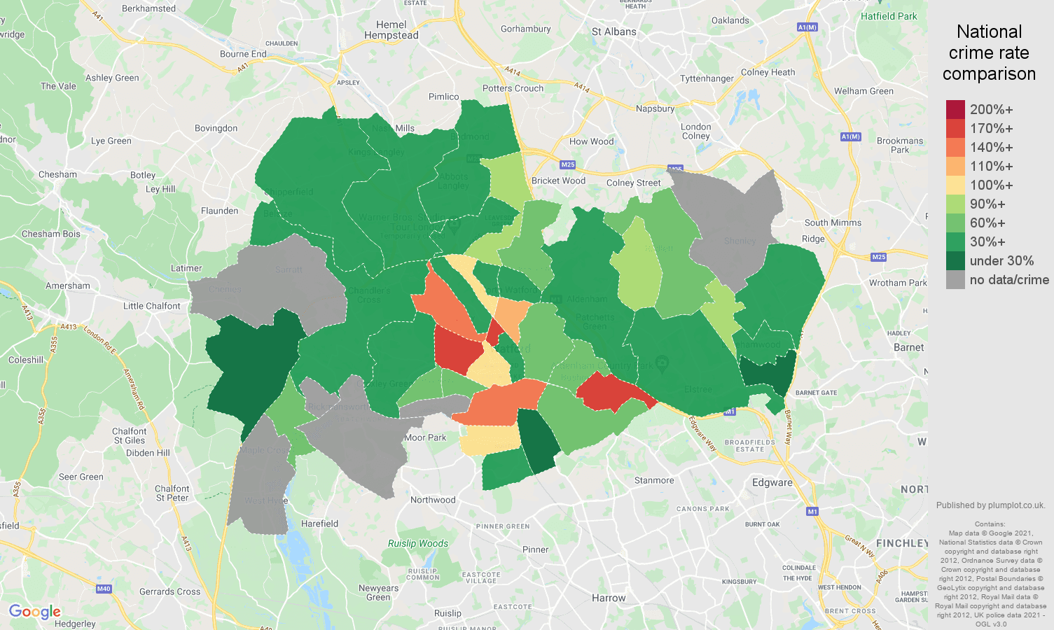 Watford robbery crime rate comparison map