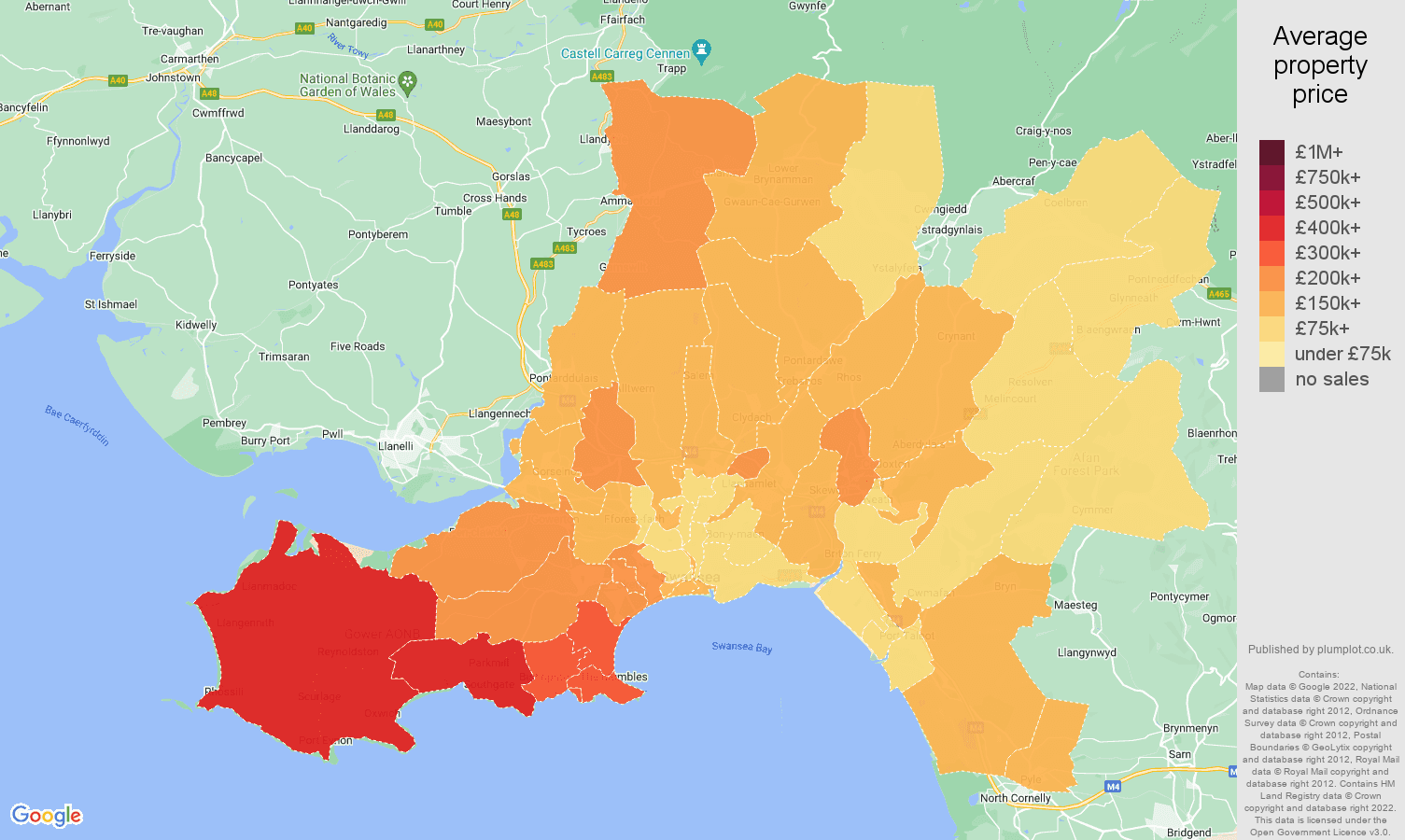 West Glamorgan house prices map