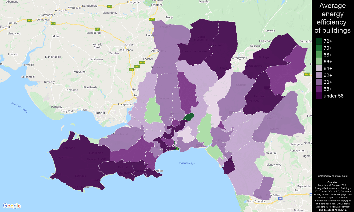 West Glamorgan map of energy efficiency of houses