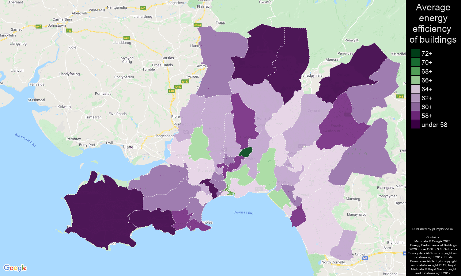 West Glamorgan map of energy efficiency of properties
