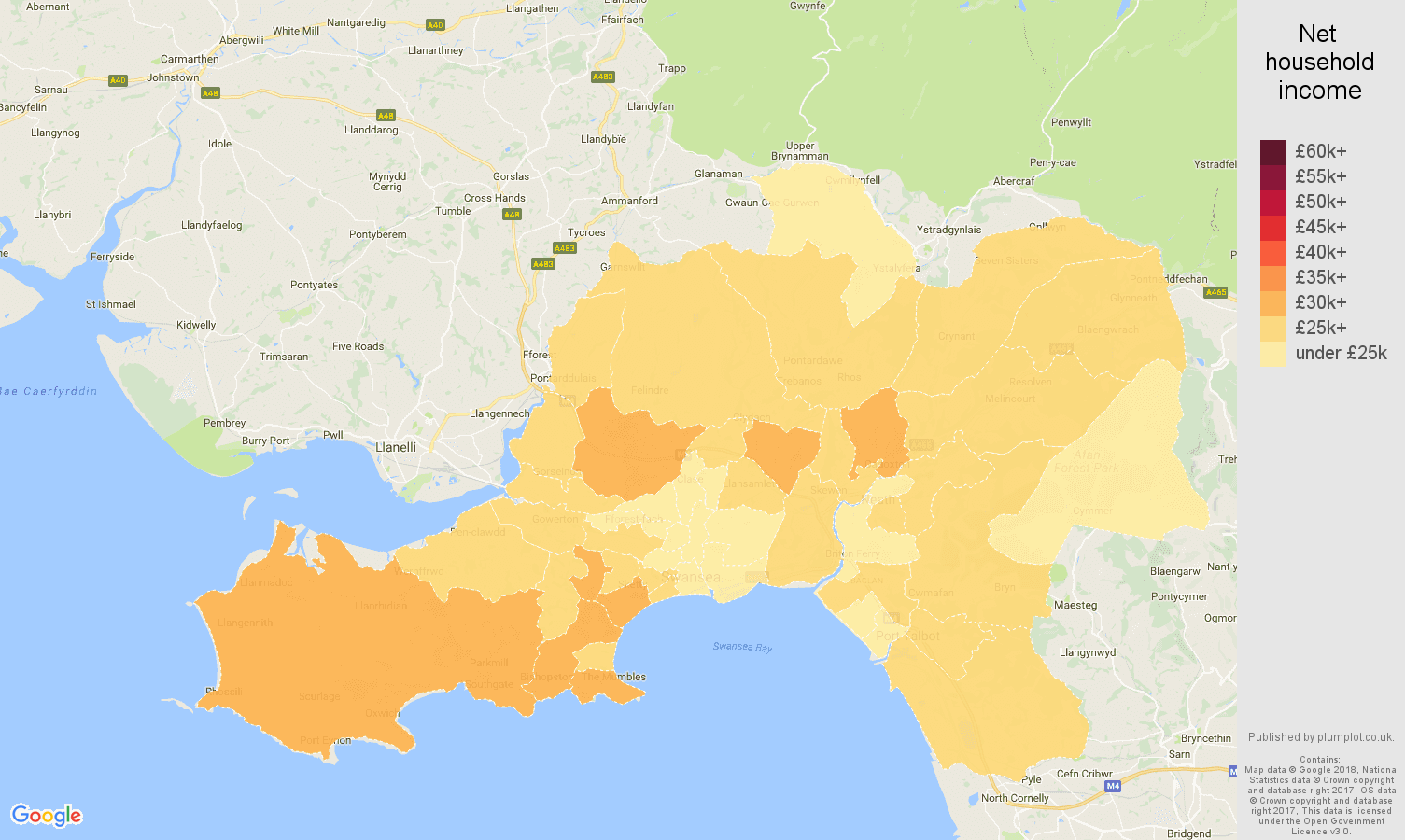 West Glamorgan net household income map