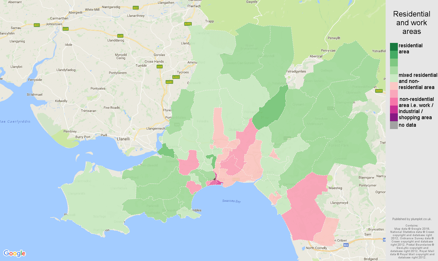 West Glamorgan residential areas map