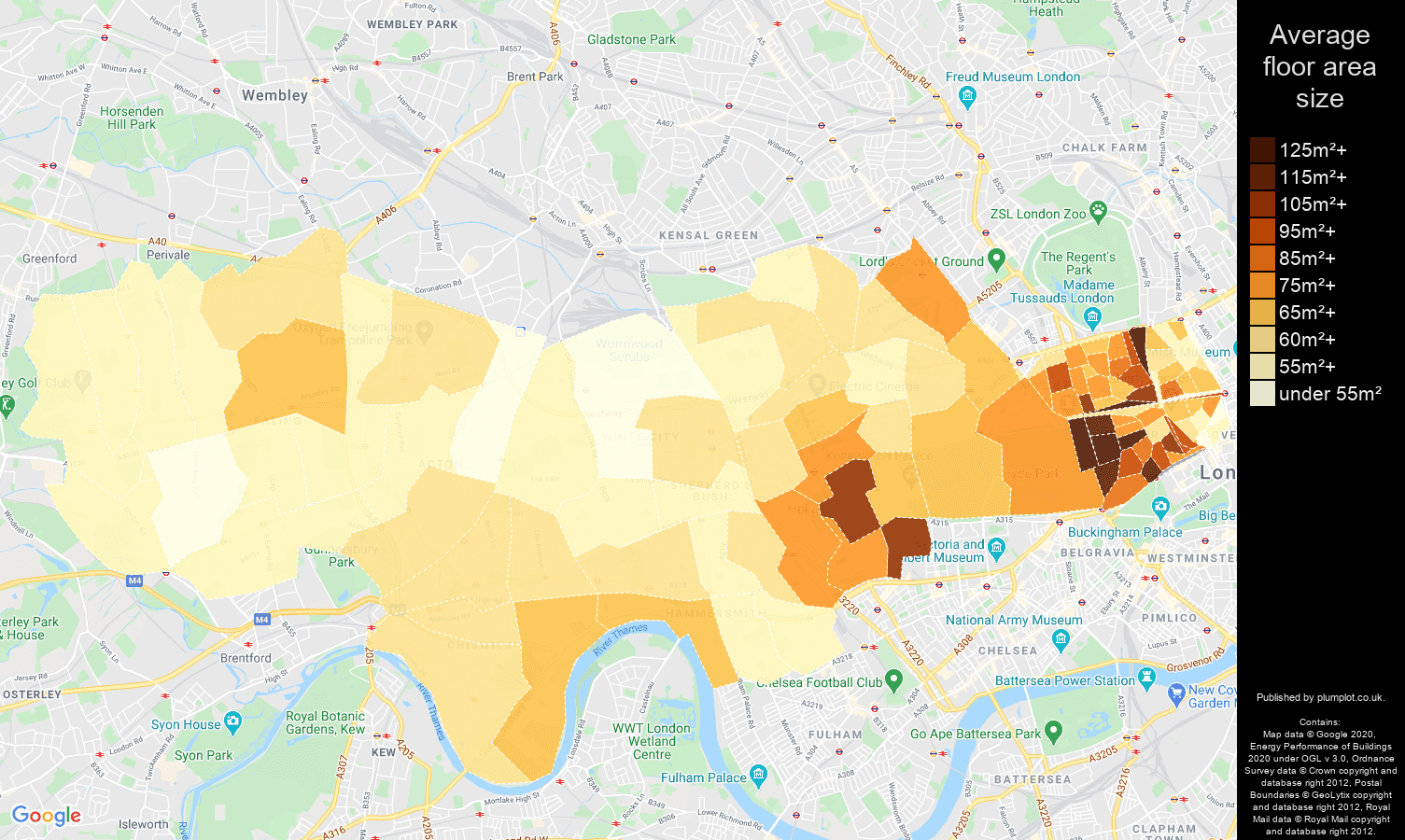 West London map of average floor area size of flats
