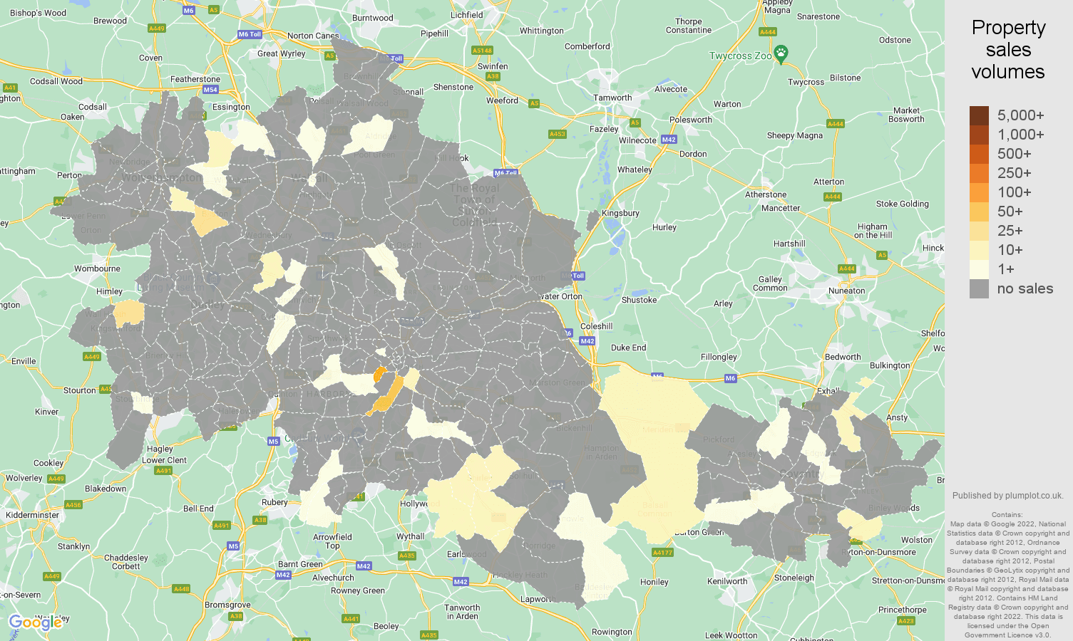 West Midlands county map of sales of new properties