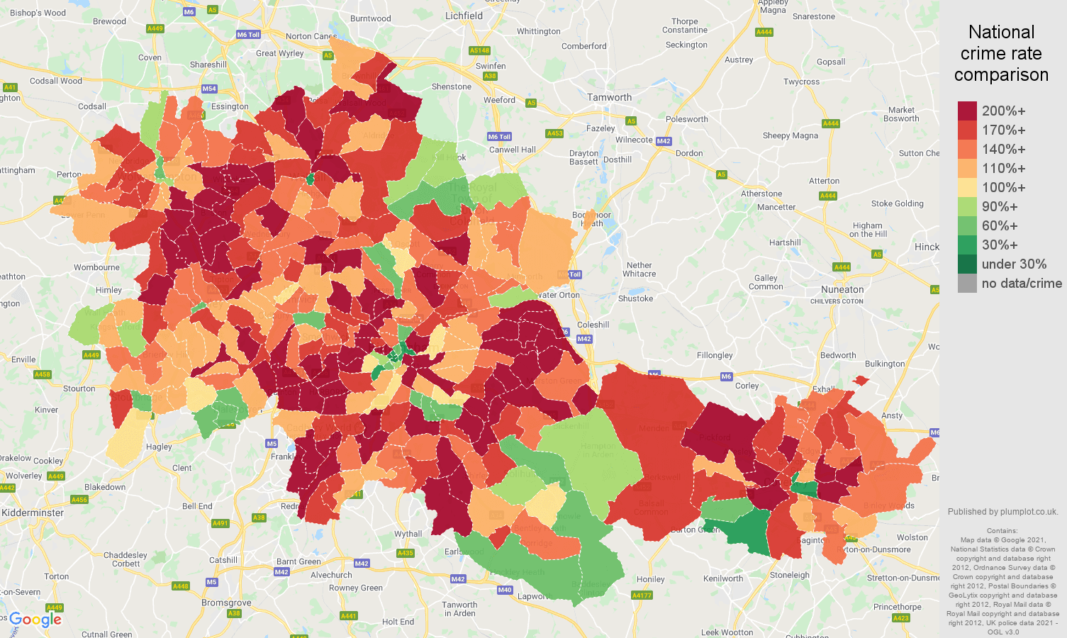 West Midlands county vehicle crime rate comparison map