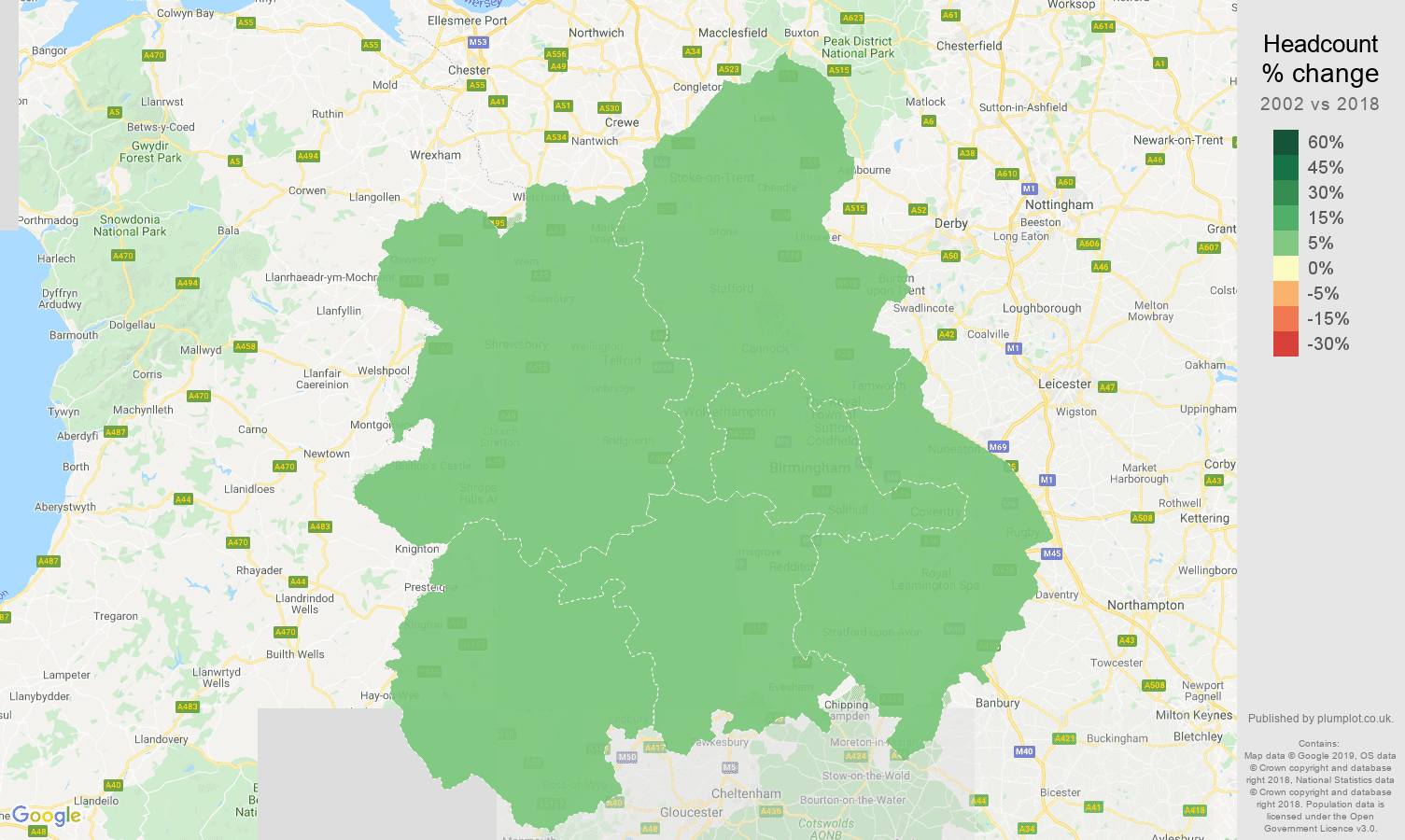 West Midlands headcount change map