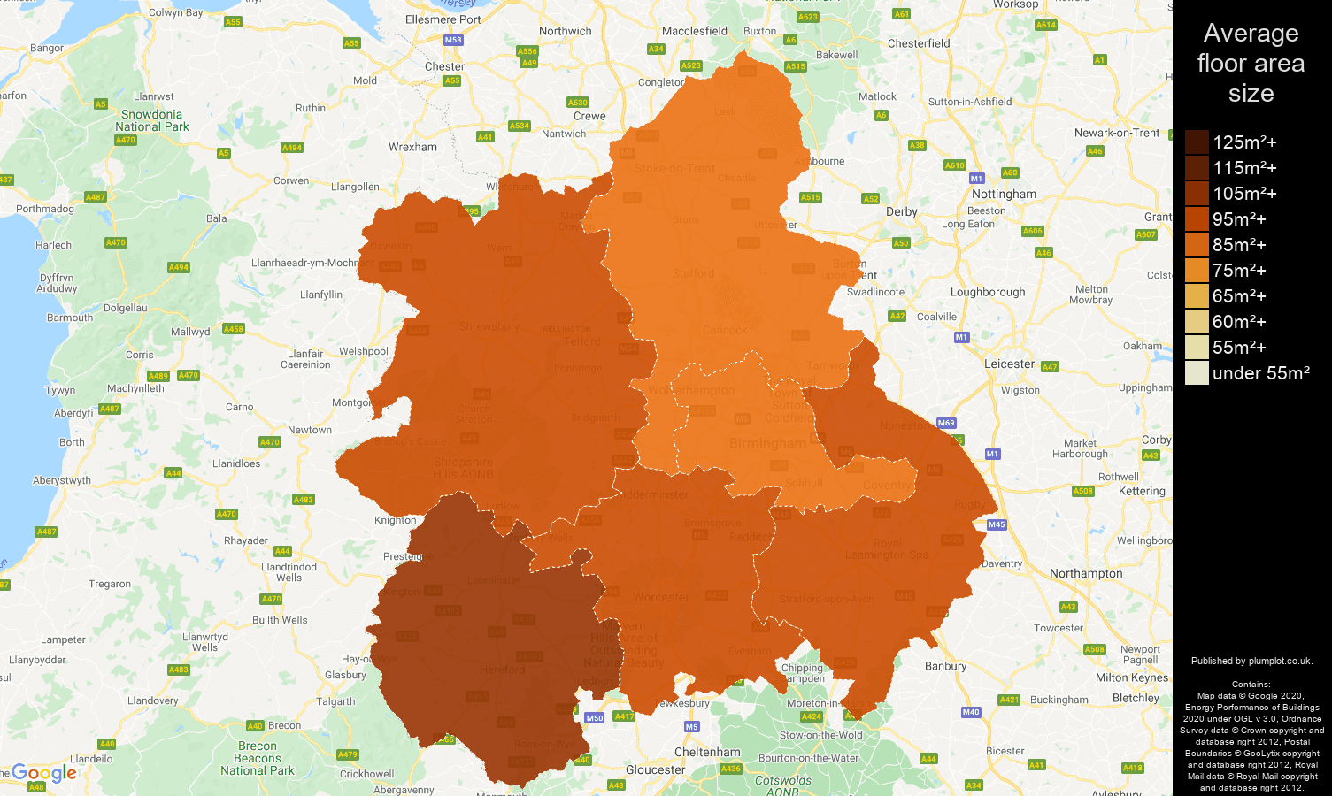 West Midlands map of average floor area size of houses