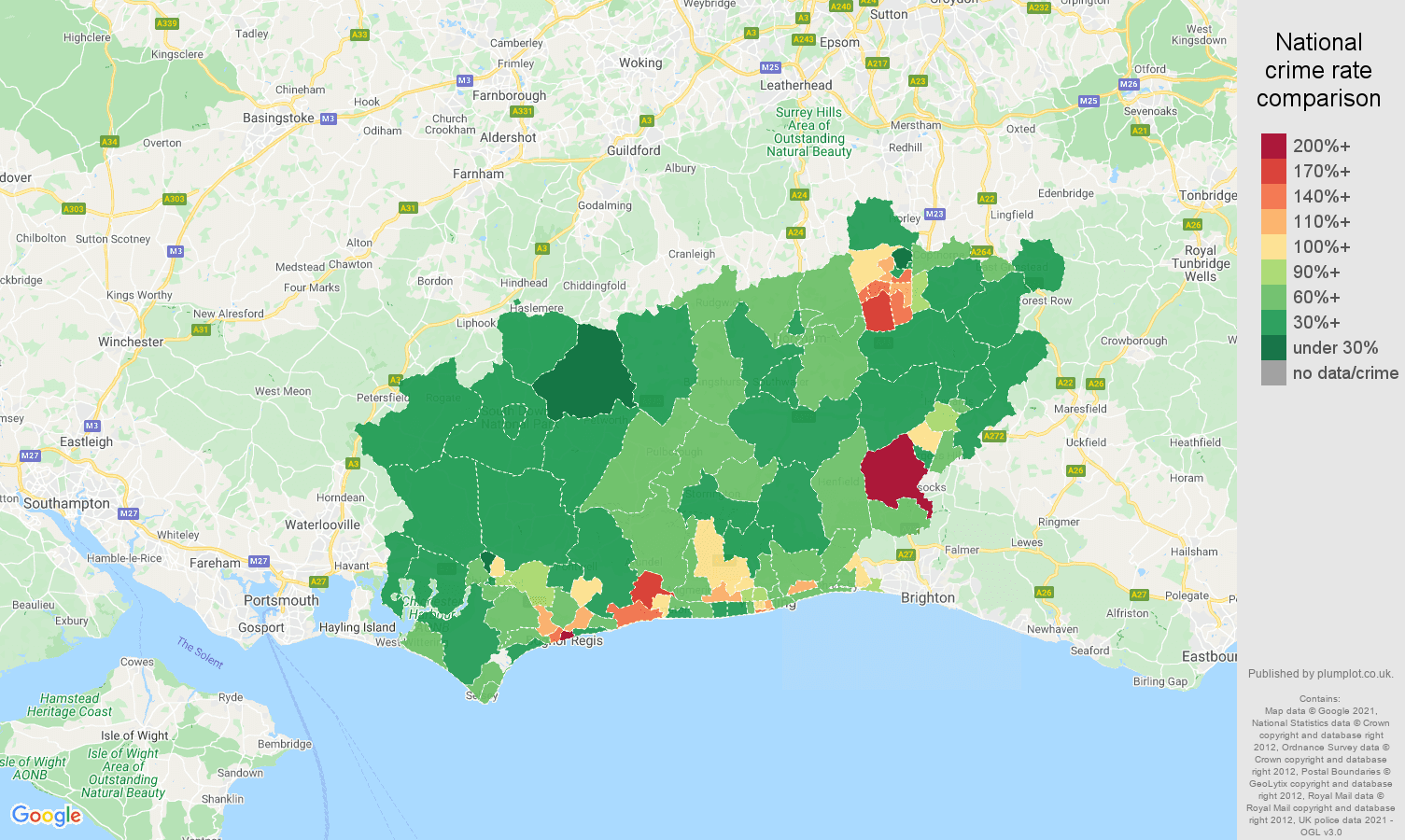 West Sussex violent crime rate comparison map