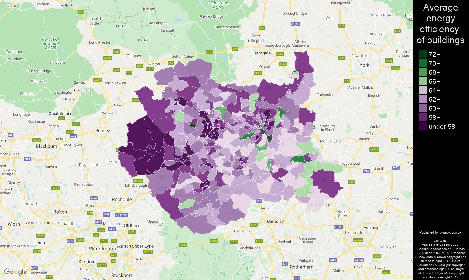 West Yorkshire map of energy efficiency of houses
