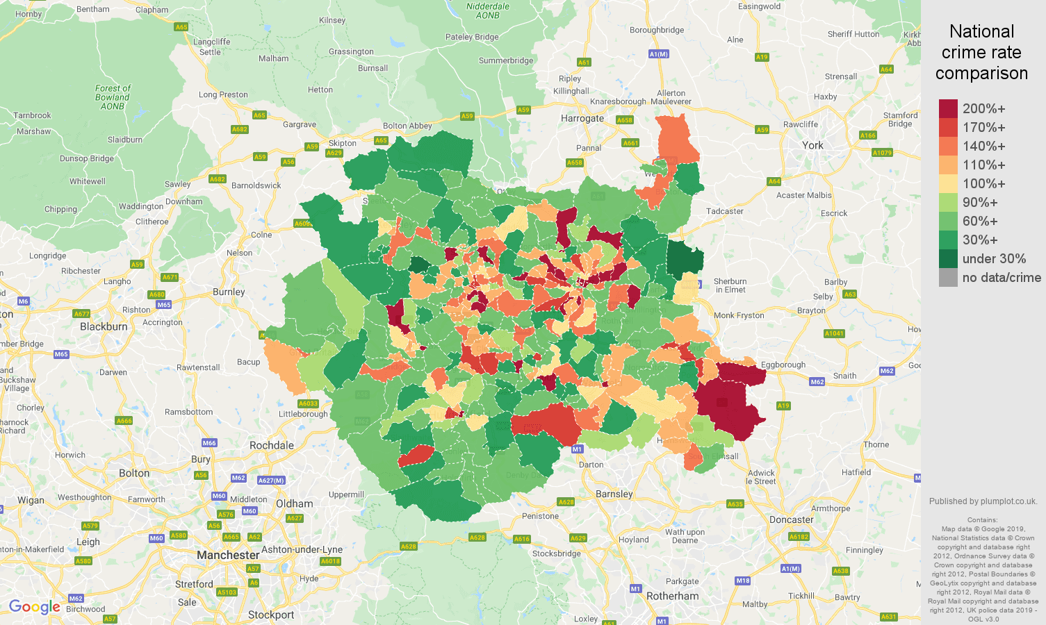 West Yorkshire other theft crime rate comparison map