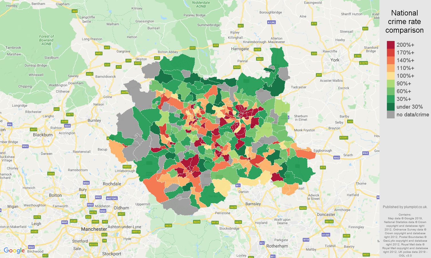 West Yorkshire possession of weapons crime rate comparison map