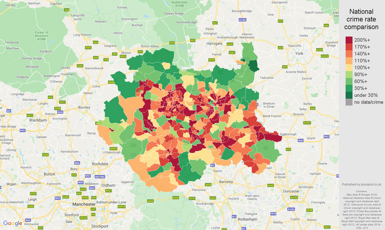West Yorkshire public order crime rate comparison map