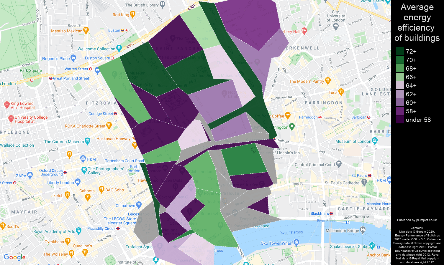 Western Central London map of energy efficiency of houses