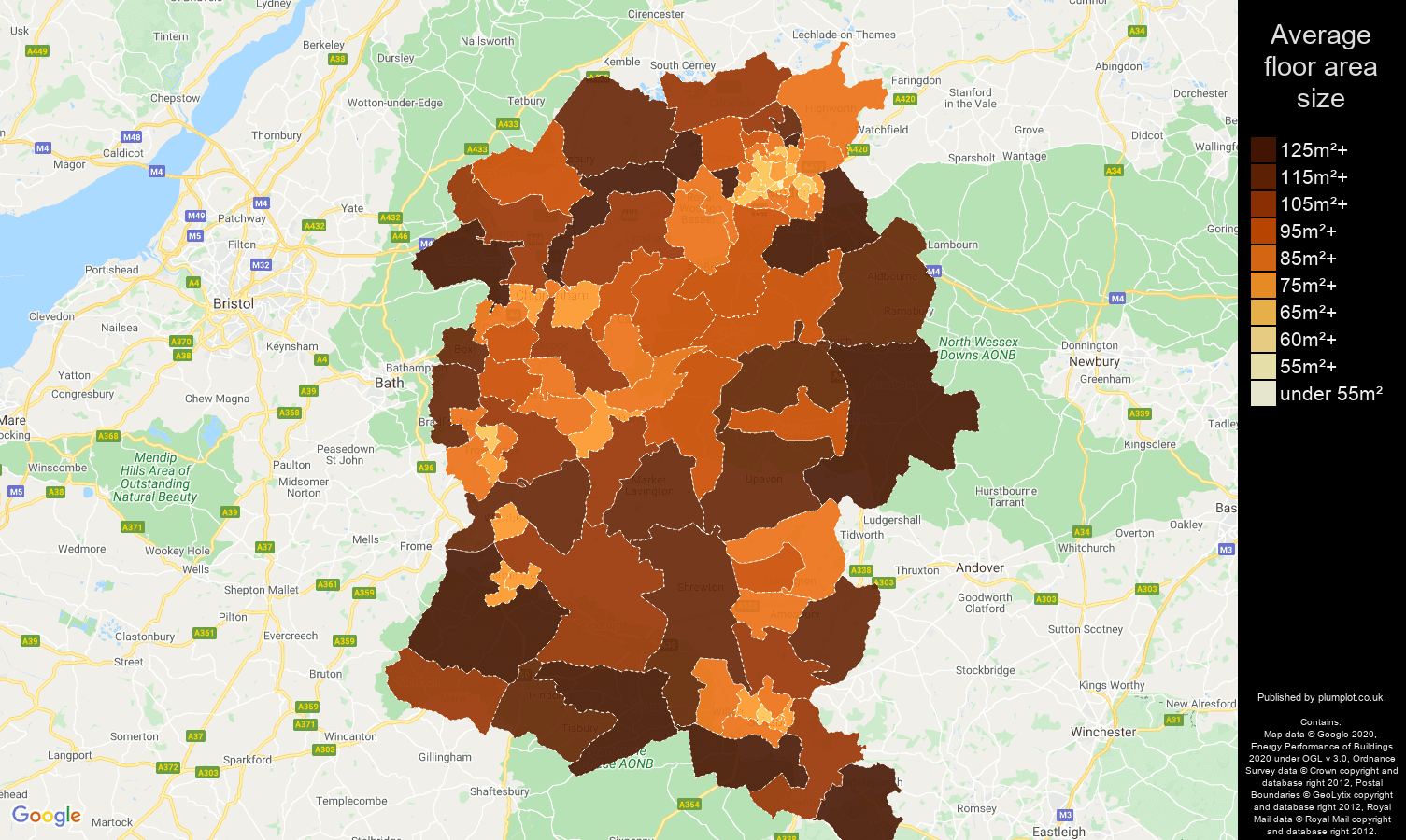 Wiltshire map of average floor area size of properties