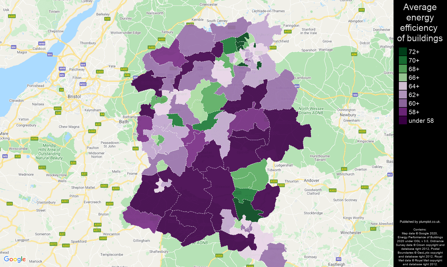 Wiltshire map of energy efficiency of houses