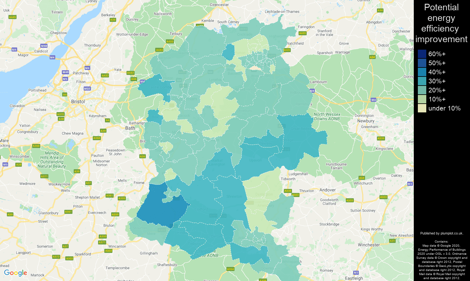 Wiltshire map of potential energy efficiency improvement of houses