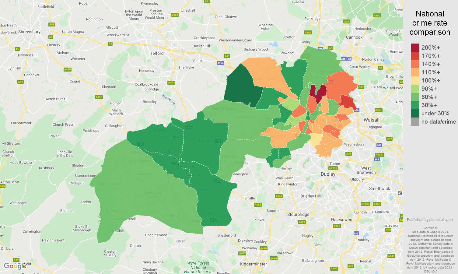 Wolverhampton criminal damage and arson crime rate comparison map