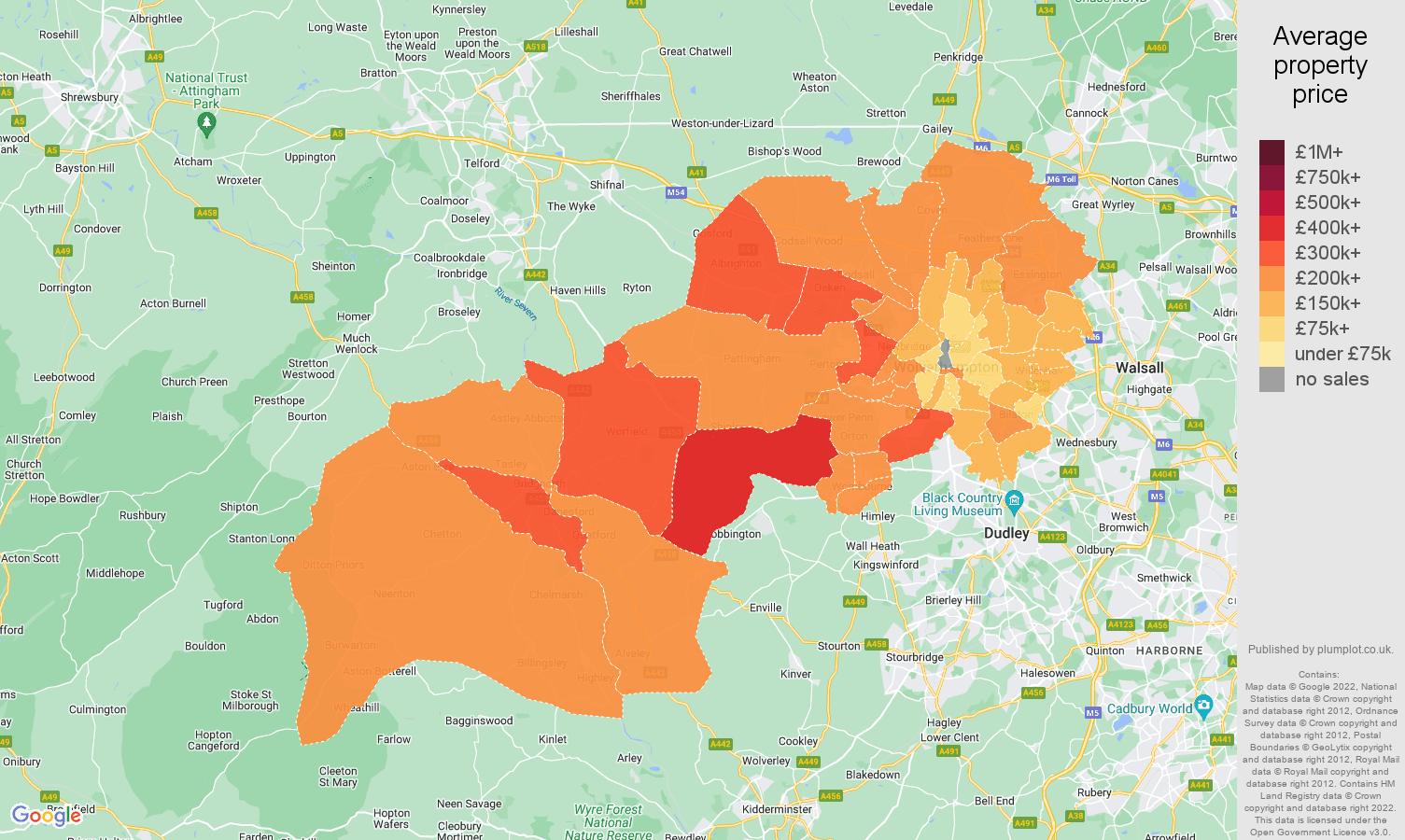 Wolverhampton house prices map