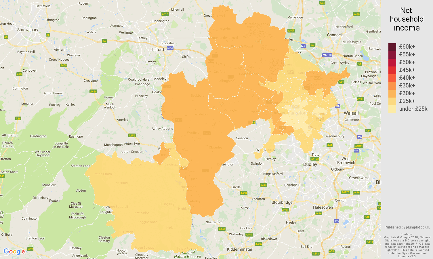 Wolverhampton net household income map