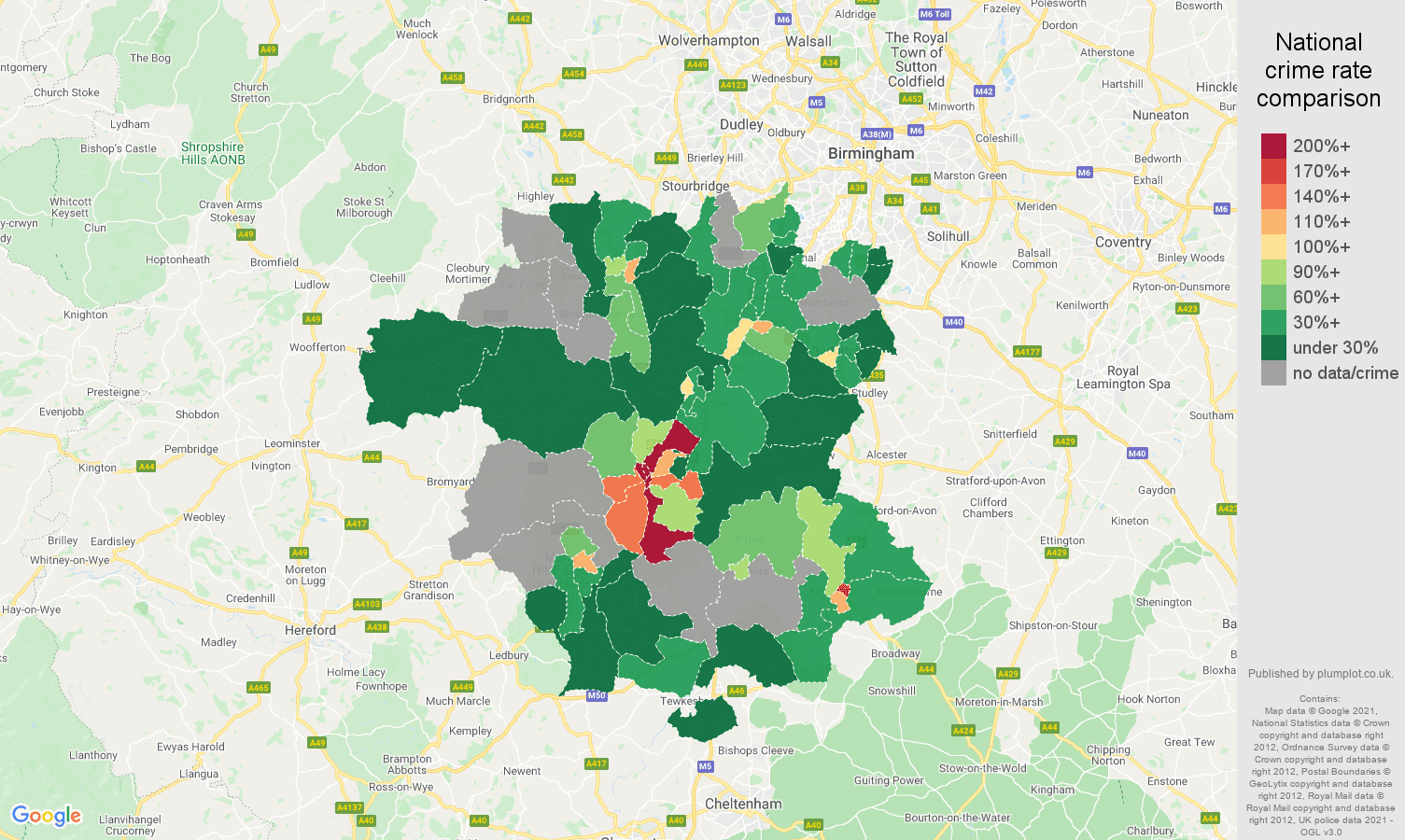 Worcestershire bicycle theft crime rate comparison map