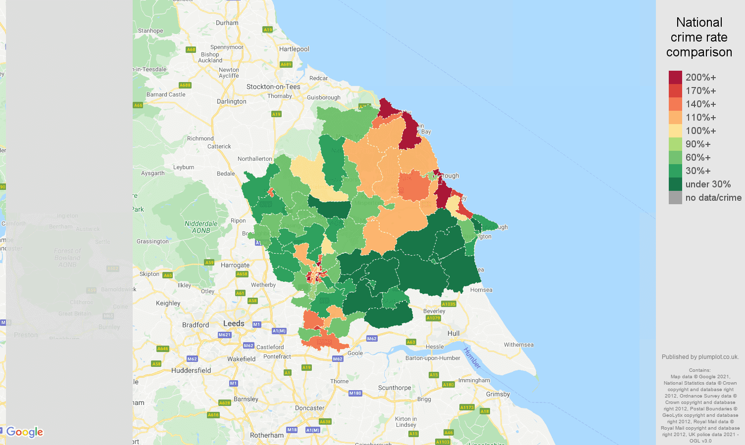 York antisocial behaviour crime rate comparison map
