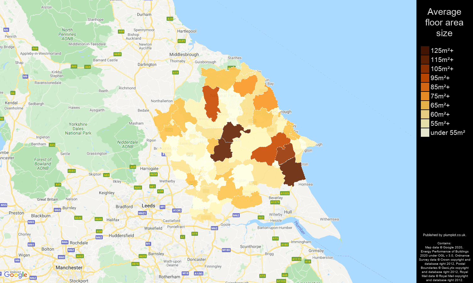 York map of average floor area size of flats